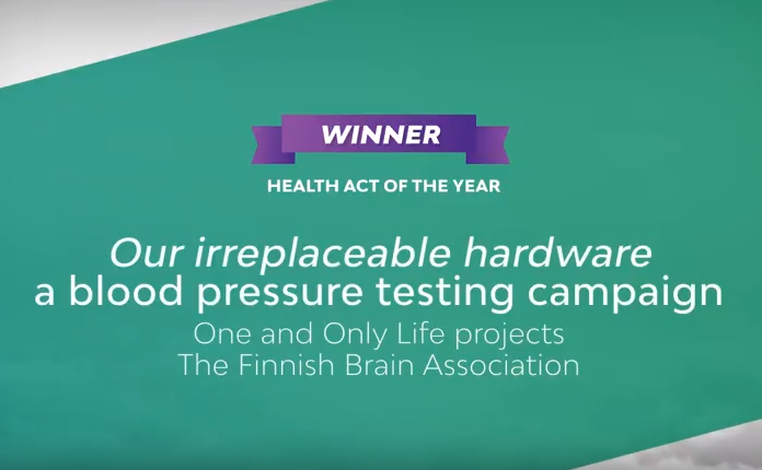 "Finnish Brain Association's blood pressure campaign ""The Priceless Processor"" awarded with the Health Act of the Year 2018 award by Tamro"