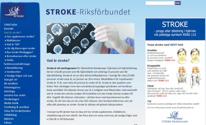 Stroke Survivors' Needs in Sweden: A follow up system after stroke