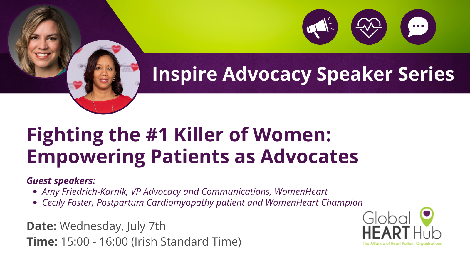 Invitation to the Global Heart Hub advocacy speaker series.