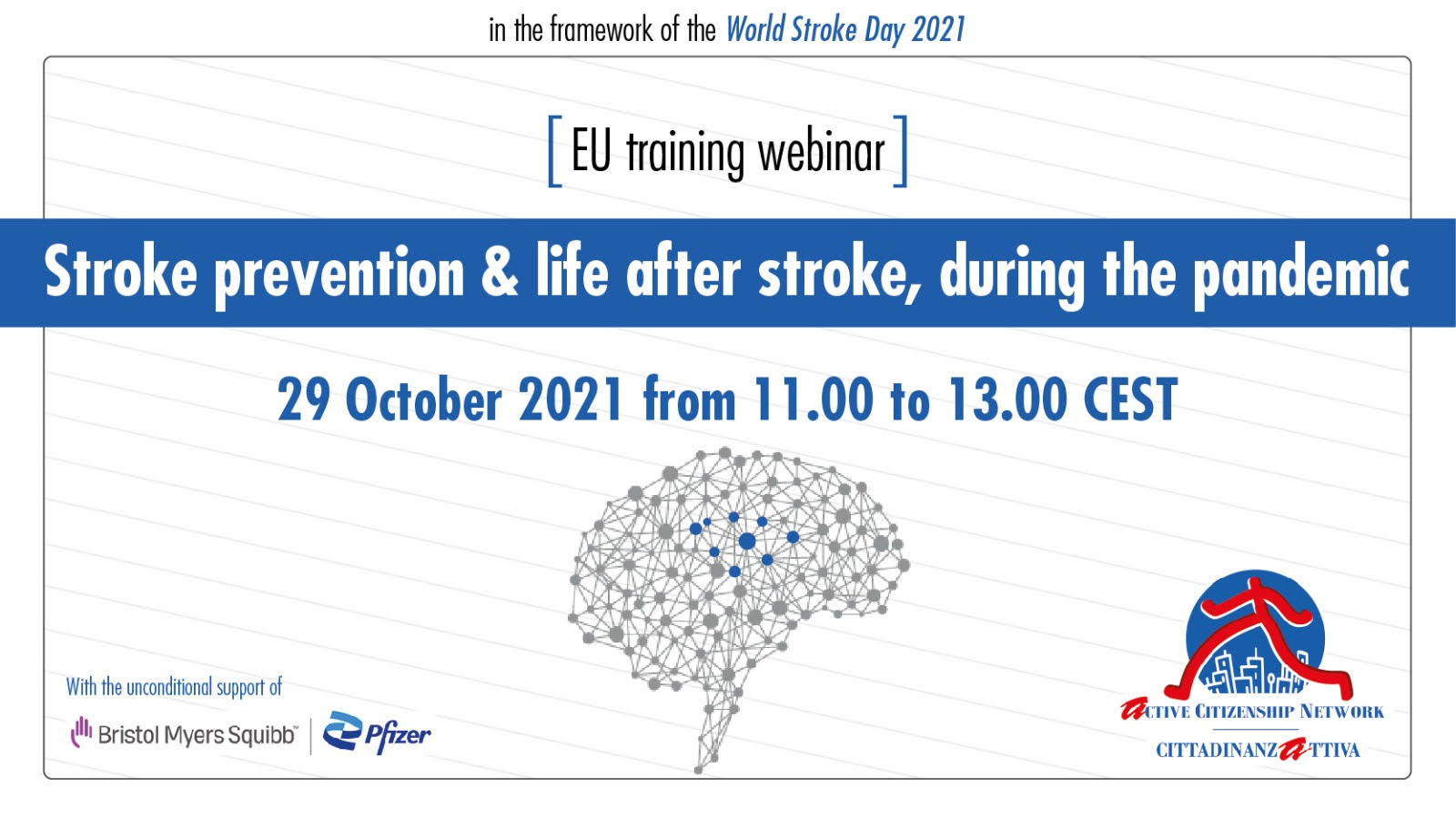 """World Stroke Day: EU training webinar: Stroke prevention & Life after stroke, during the Pandemic""""."""